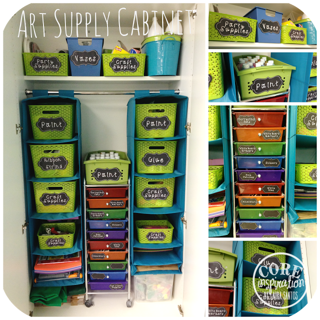 Art supply cabinet. Labeled bins filled with art supples.