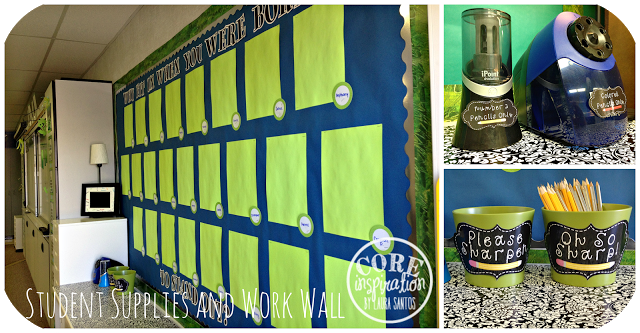 Work wall and pencil sharpening station.