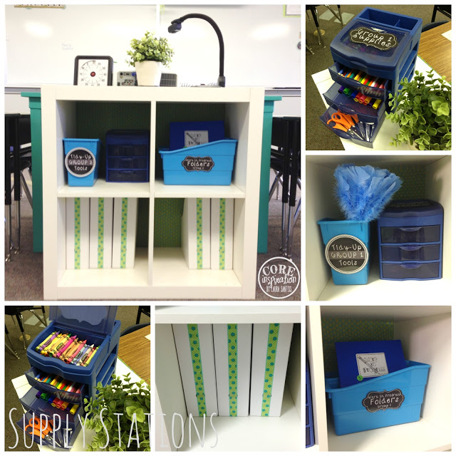 Student supply stations. Book bins, supply drawers, tidy up tools.