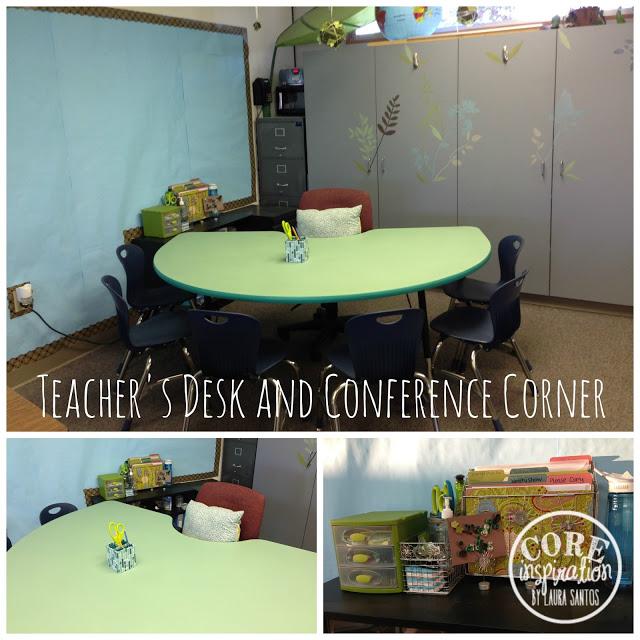 Teacher's desk and conference corner.