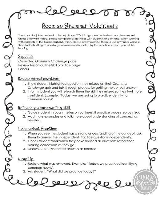 My grammar volunteers reminder sheet.