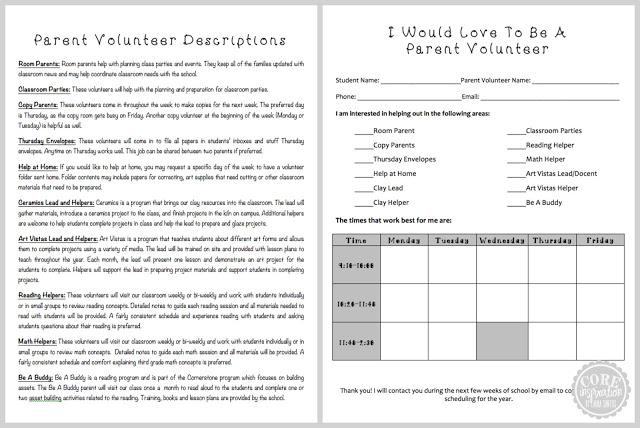A look at my parent volunteer descriptions and scheduling sheet