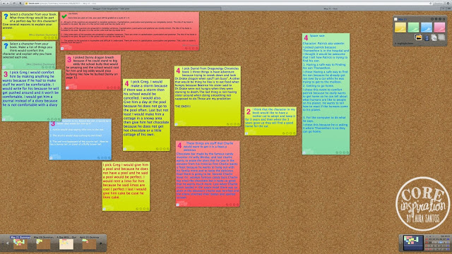 Overview of reading response canvas in Lino.