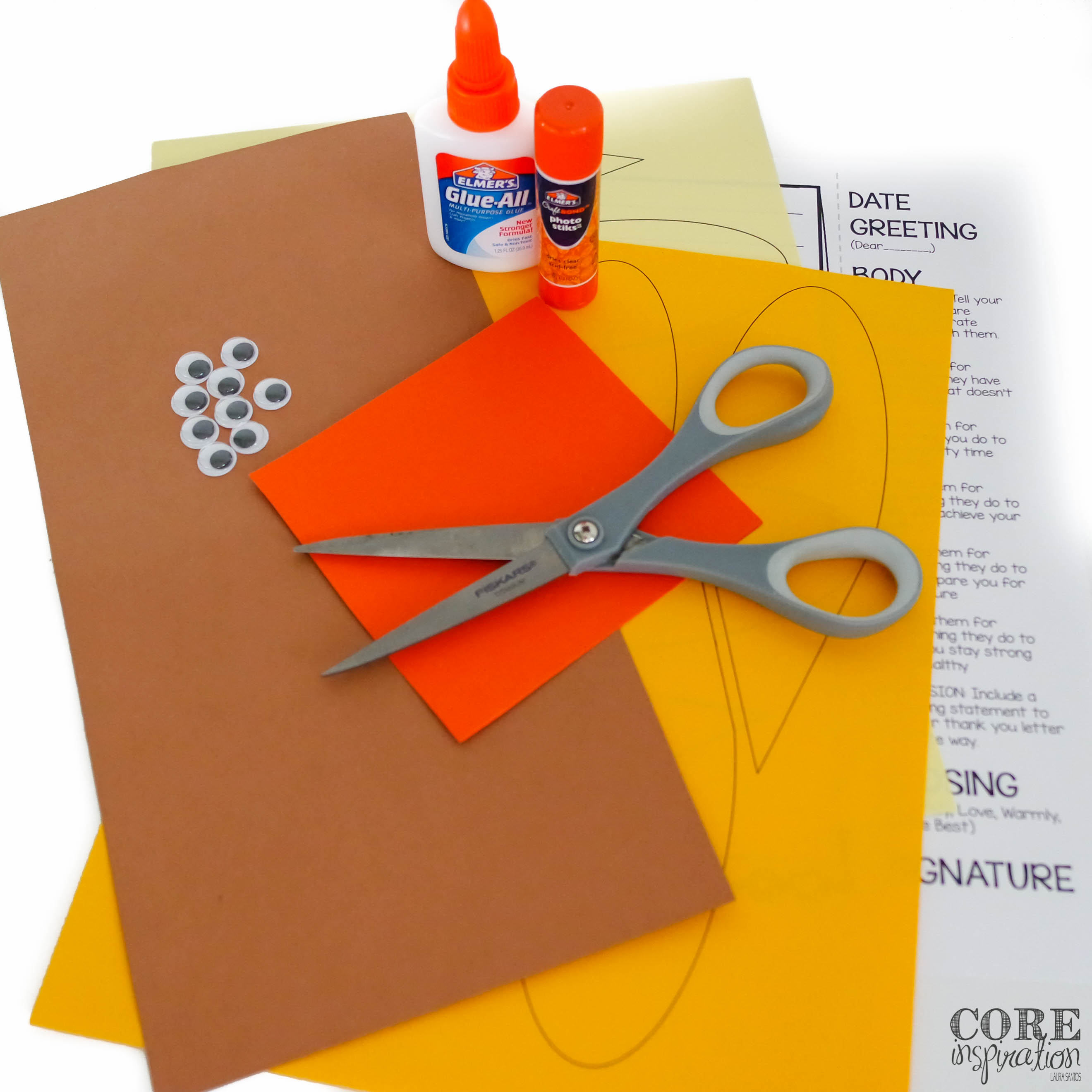 Supplies needed for letters of thanks craftivity - construction paoer, glue, scissors, googley eyes