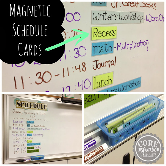 Laminated magnetic schedule cards.