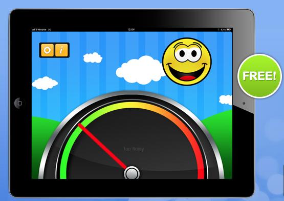 TooNoisy noise meter display on iPad.