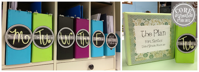 Daily copy boxes and lesson planning binder.