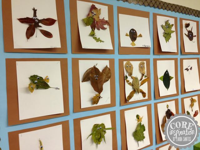 A wall of leaf creatures created by third graders.