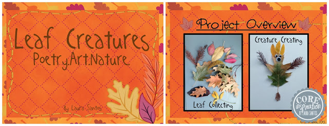 Leaf Creatures Project Cover, leaf collecting photo, creature photo.