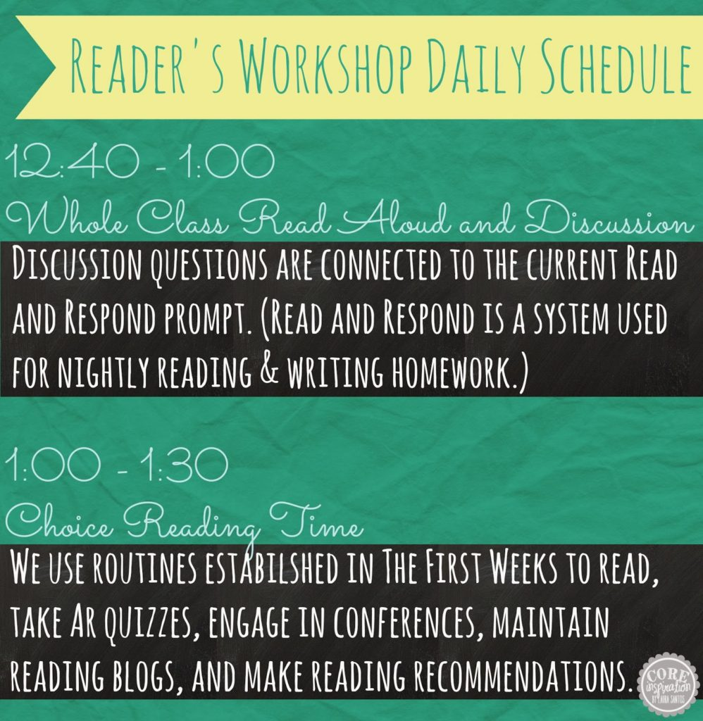 Our reader's workshop daily schedule