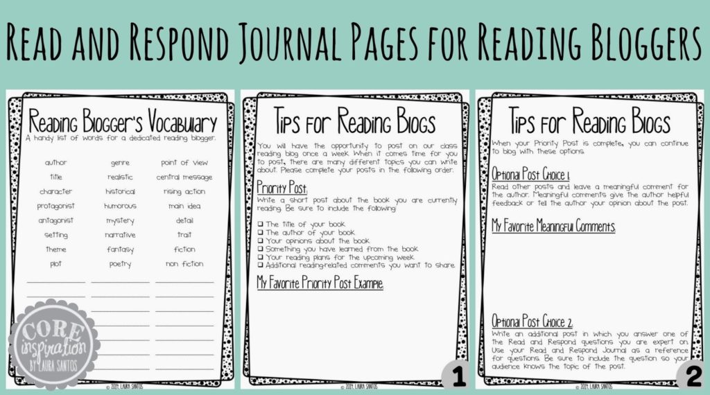 Read and Respond Journal Pages for bloggers