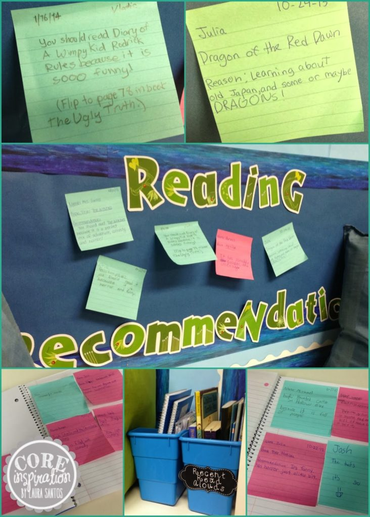 Reading recommendation board and archive.