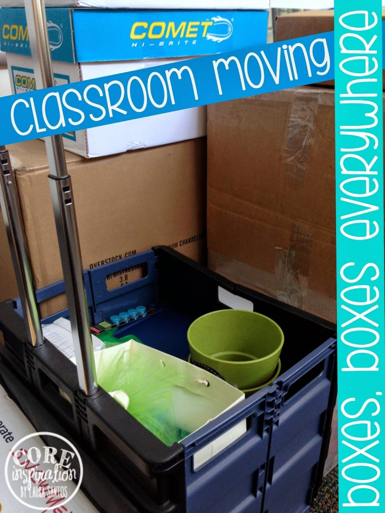 Classroom supplies and decor packed into boxes.