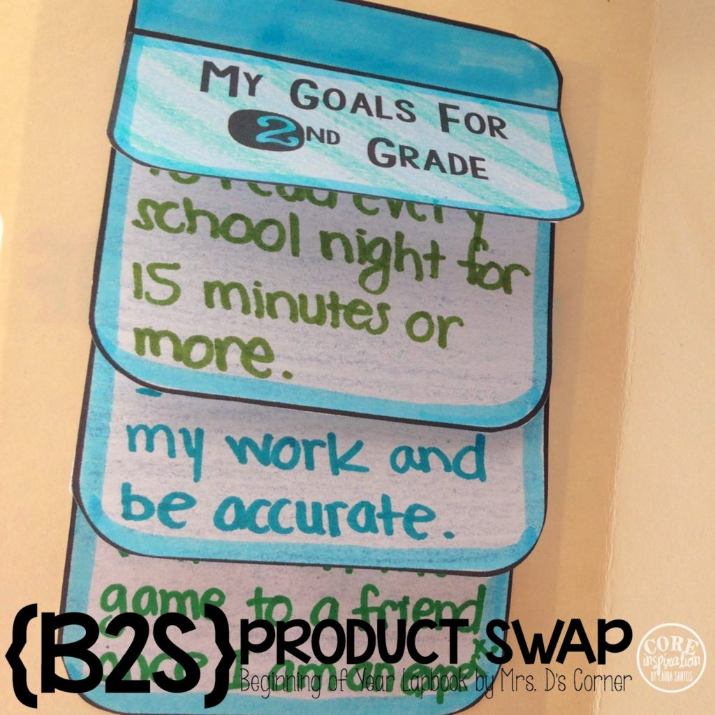 Back To School Lapbook goals for 2nd grade