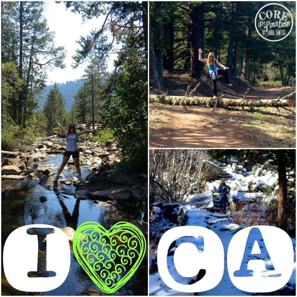 Hiking outdoors in various locations around California.