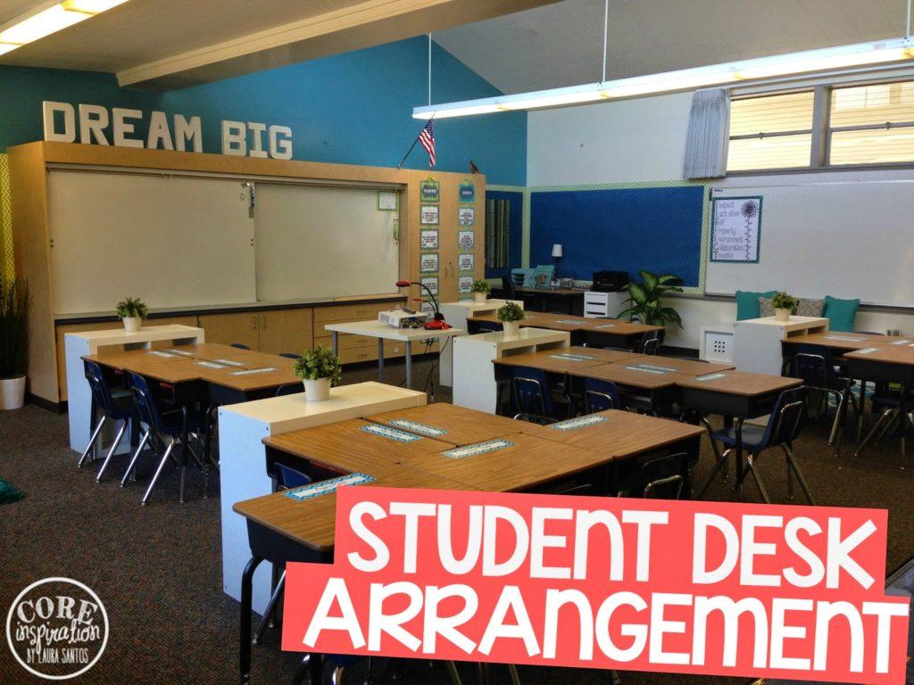 Core inspiration classroom student desk arrangement.