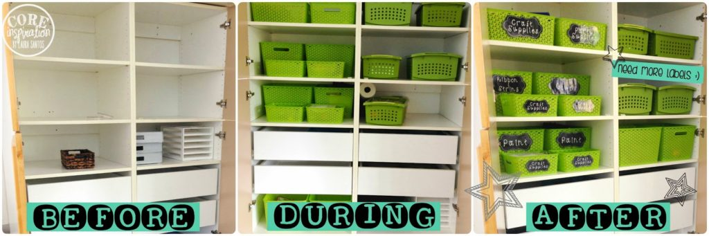 Before, During, and After organizing my classroom cabinets.