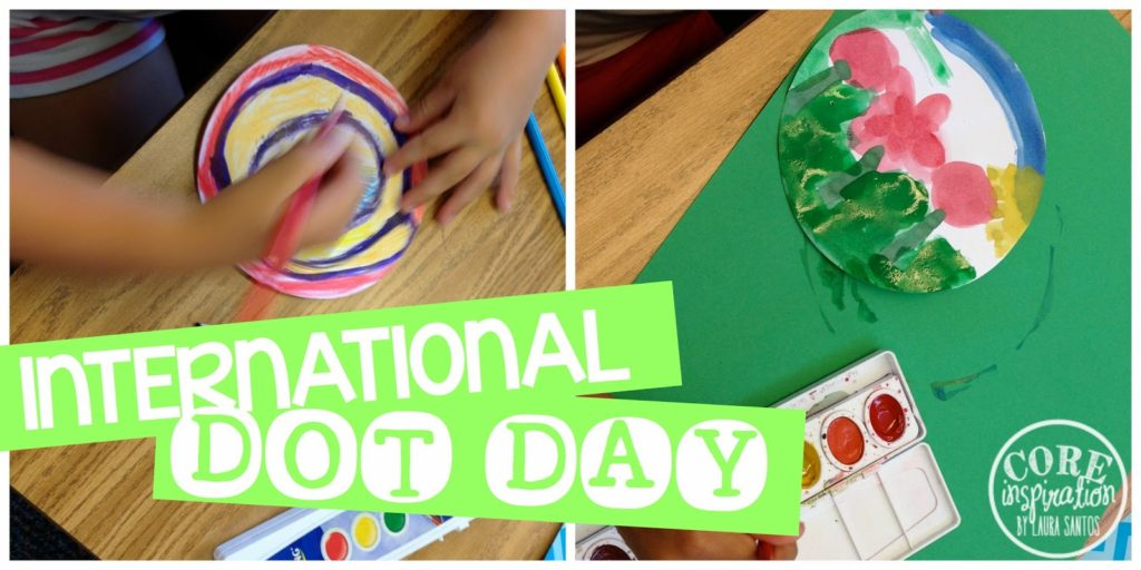 Second graders painting their dots for International Dot Day