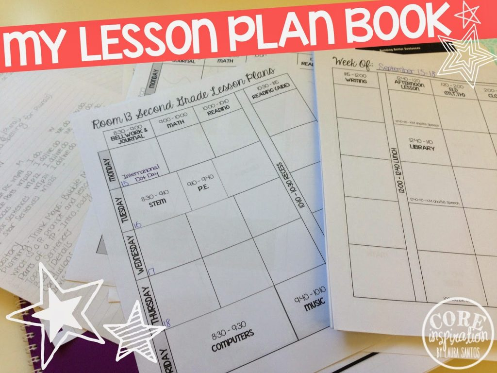 My printed lesson plan book.