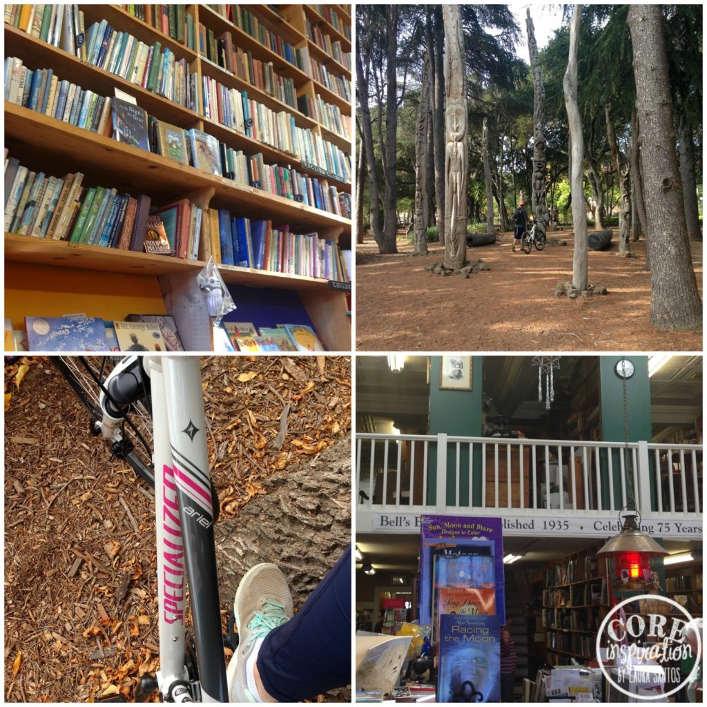 Bookstore shelves and bike riding.