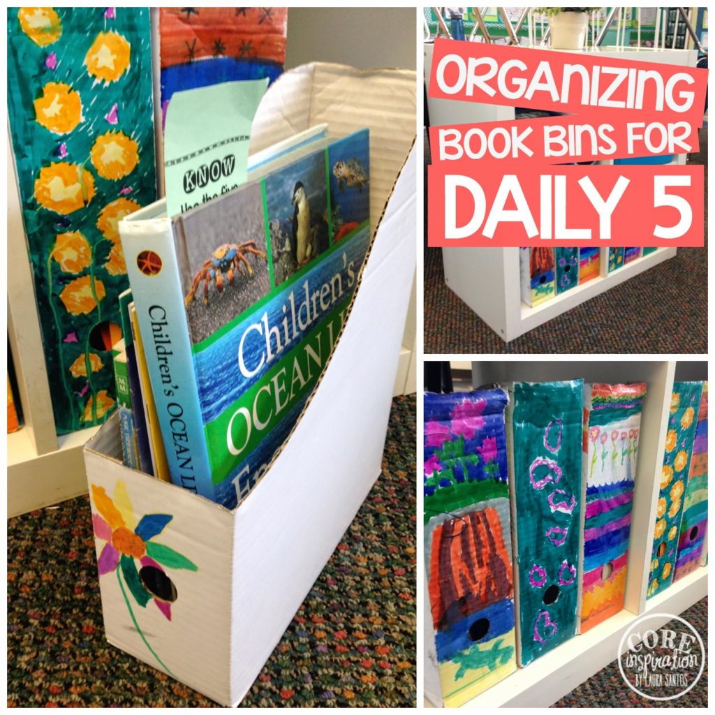 Student decorated book bins.