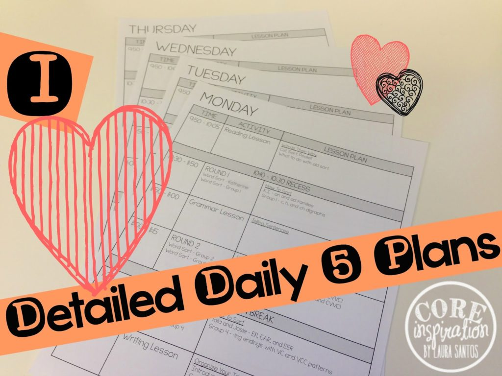 My daily 5 lesson planning template