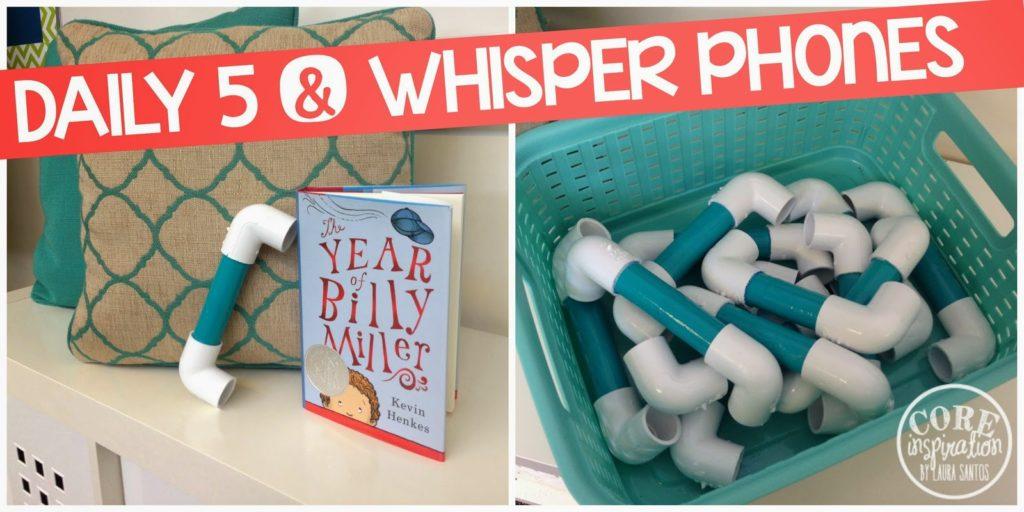 Daily 5 Whisper Phones in a bin.