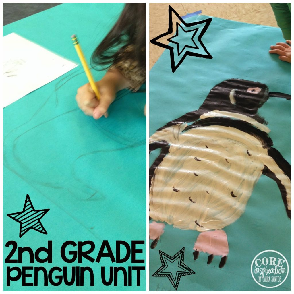 Students drawing and painting life size pengins.