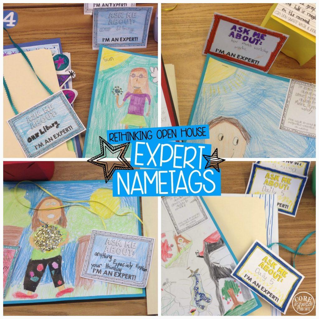 Expert name tags on student desks.