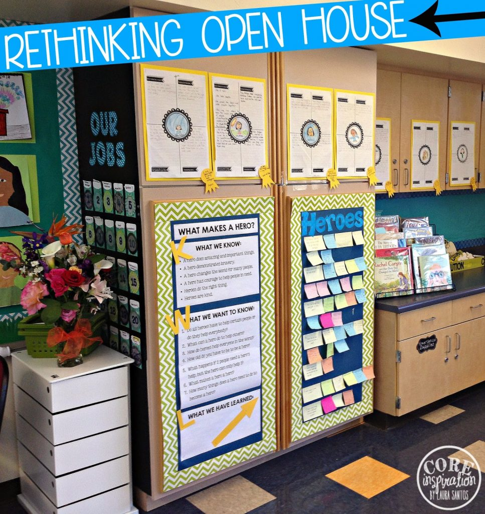 Classroom celebration of learning display KWL chart for heroes unit