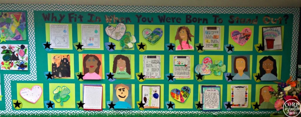 Why fit in wall with a variety of student work reflecting various personalities and interests.