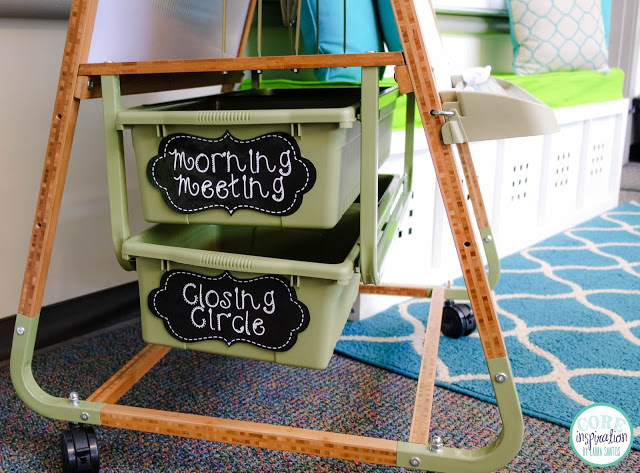 Core Inspiration storage bins in Copernicus Bamboo teaching easel.