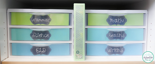 Sterilite 3-Drawer Organizers are perfect for classroom organization.
