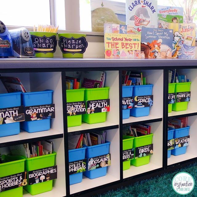 Core Inspiration classroom library book display area.
