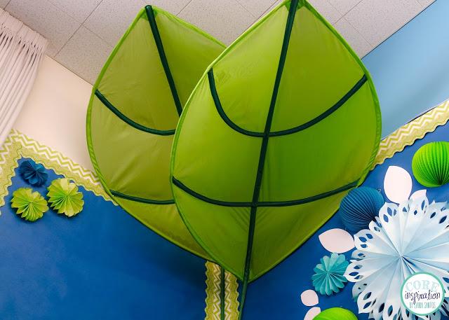 Core Inspiration classroom library with Ikea Lova leaf canopy.