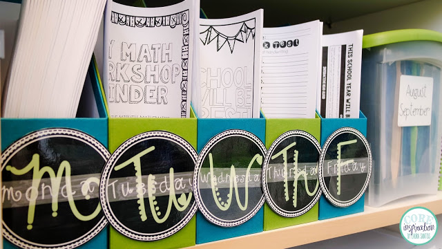 Core Inspiration weekly copy bins in classroom.