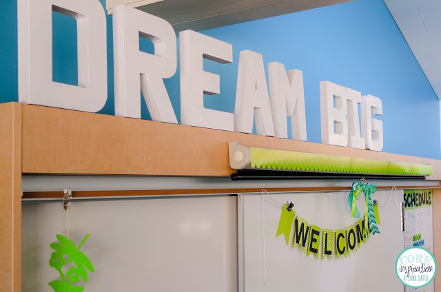 Core Inspiration front of the classroom dream big white marquee block lettering.