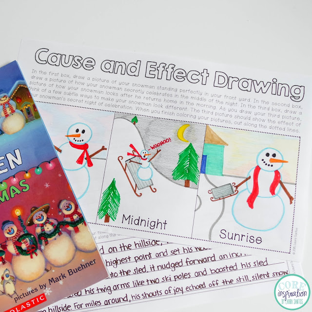 Snowmen at Christmas cause and effect drawing activity.