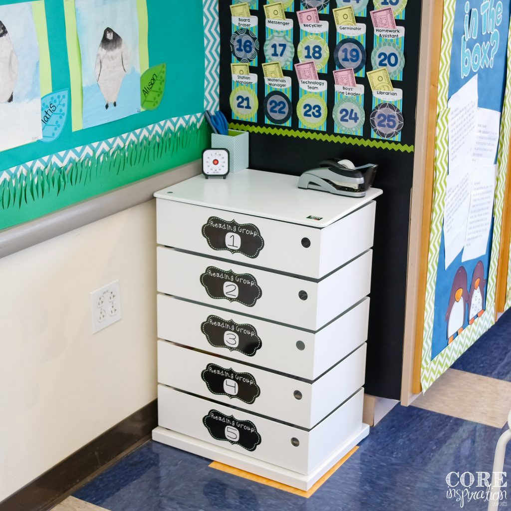 This guided reading tower stores all the reading materials for our guided reading groups. Supplies are tucked neatly out of sight when not in use.