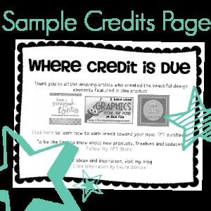 Sample Credits Page