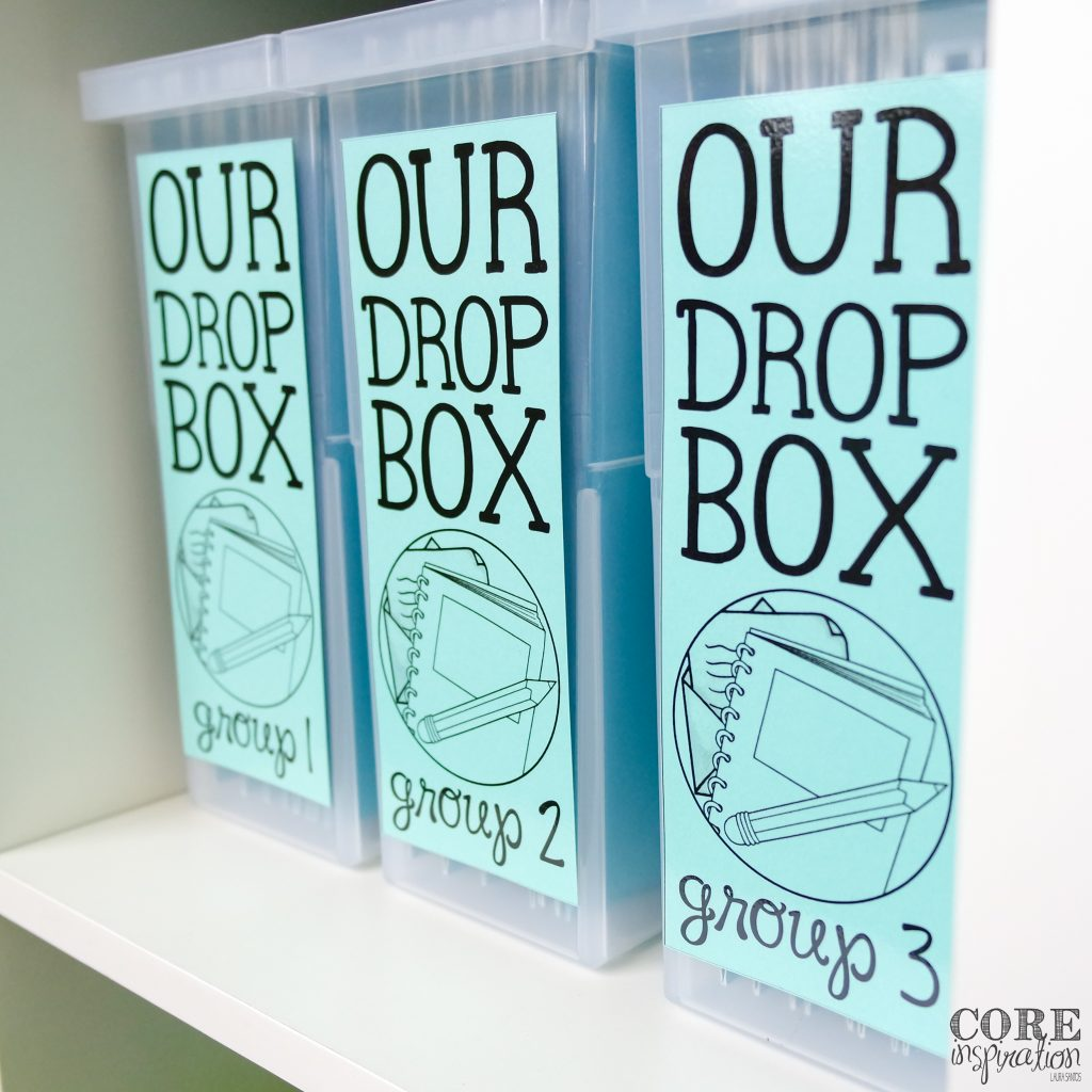 Core Inspiration Homework Drop Boxes sitting side by side on white shelf.