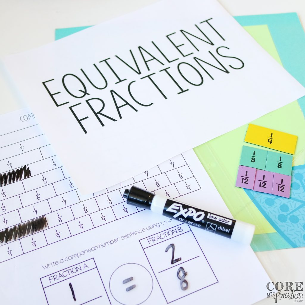 Lesson planning supplies for equivalent fraction live lesson: fraction strips, vocab cards, comparing fractions tool.