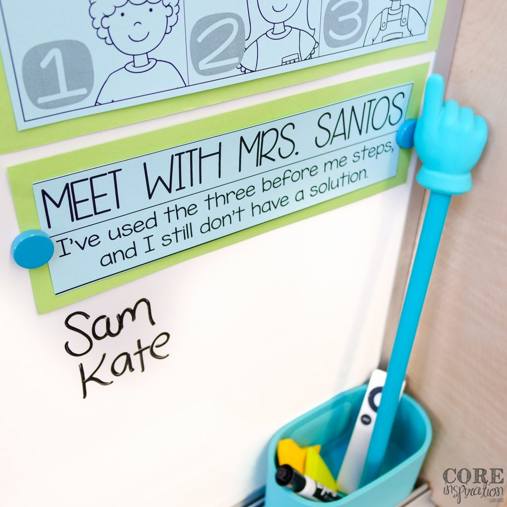 Meet With The Teacher list under three before me poster in classroom.