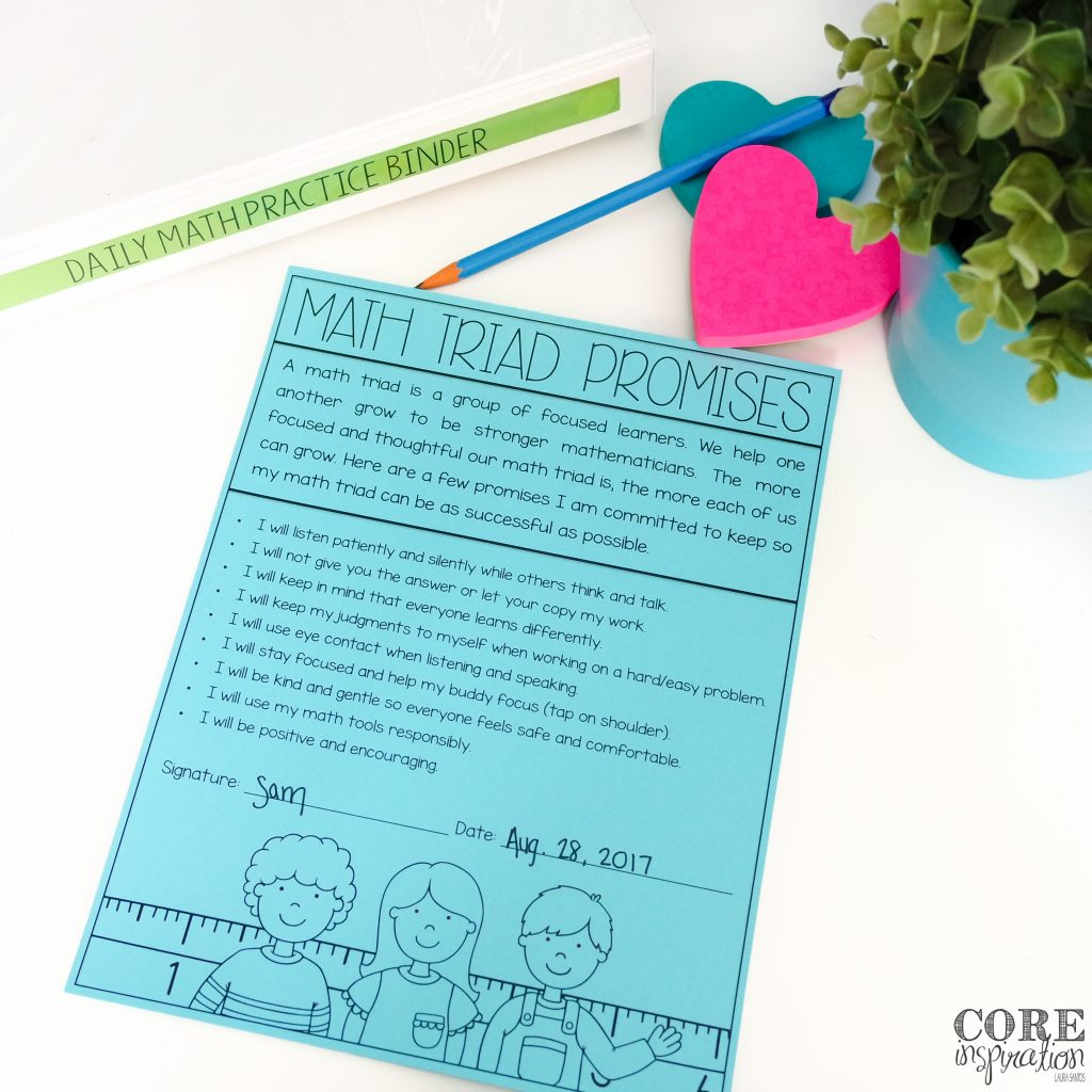 Core Inspiration Math Triad Promise Contract for Students