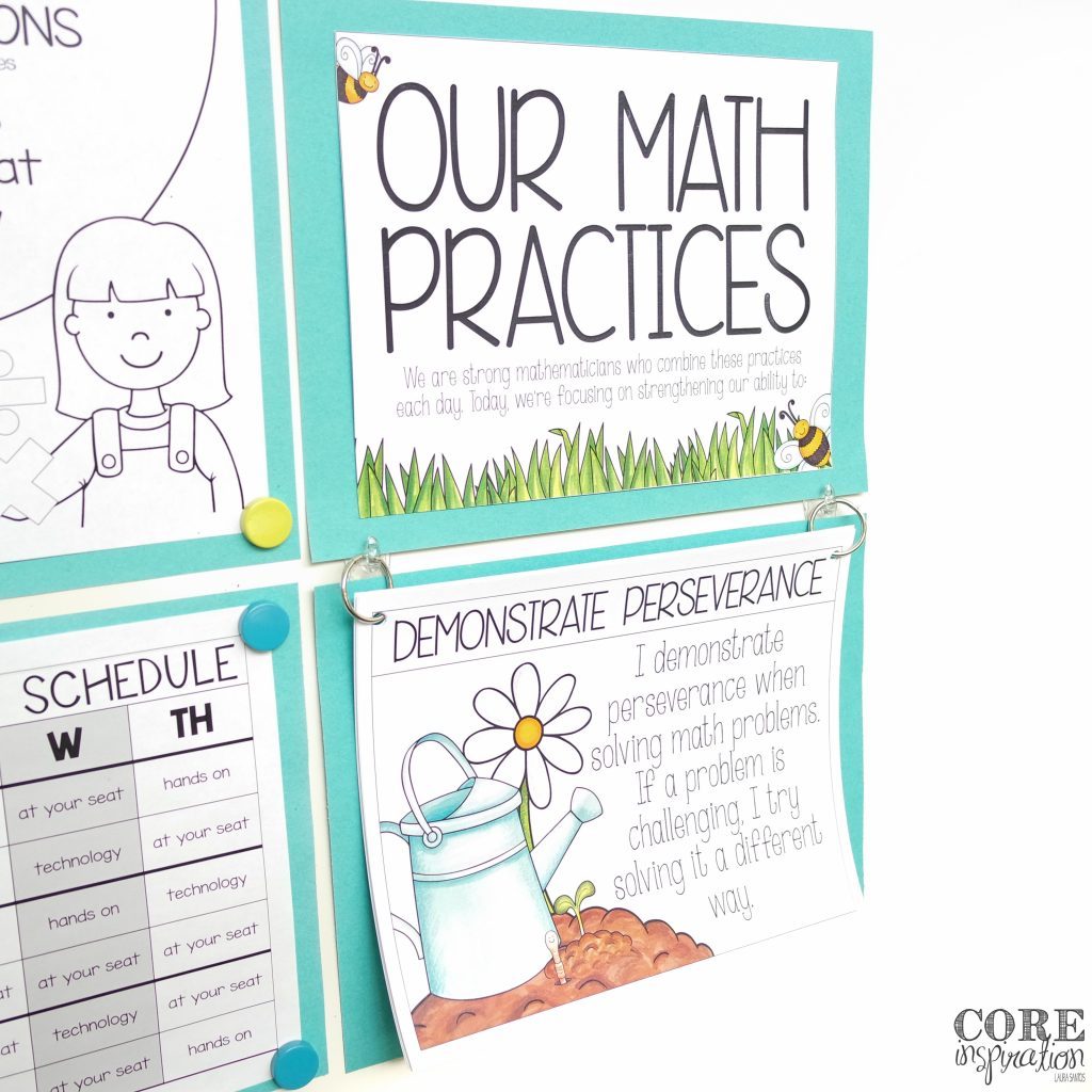 Garden-themed Standards for Mathematical Practice Posters hanging on whiteboard.