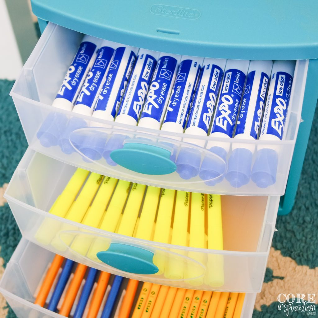 This Sterilite drawer is the perfect place to store supplies students might need during reading conferences and word work.
