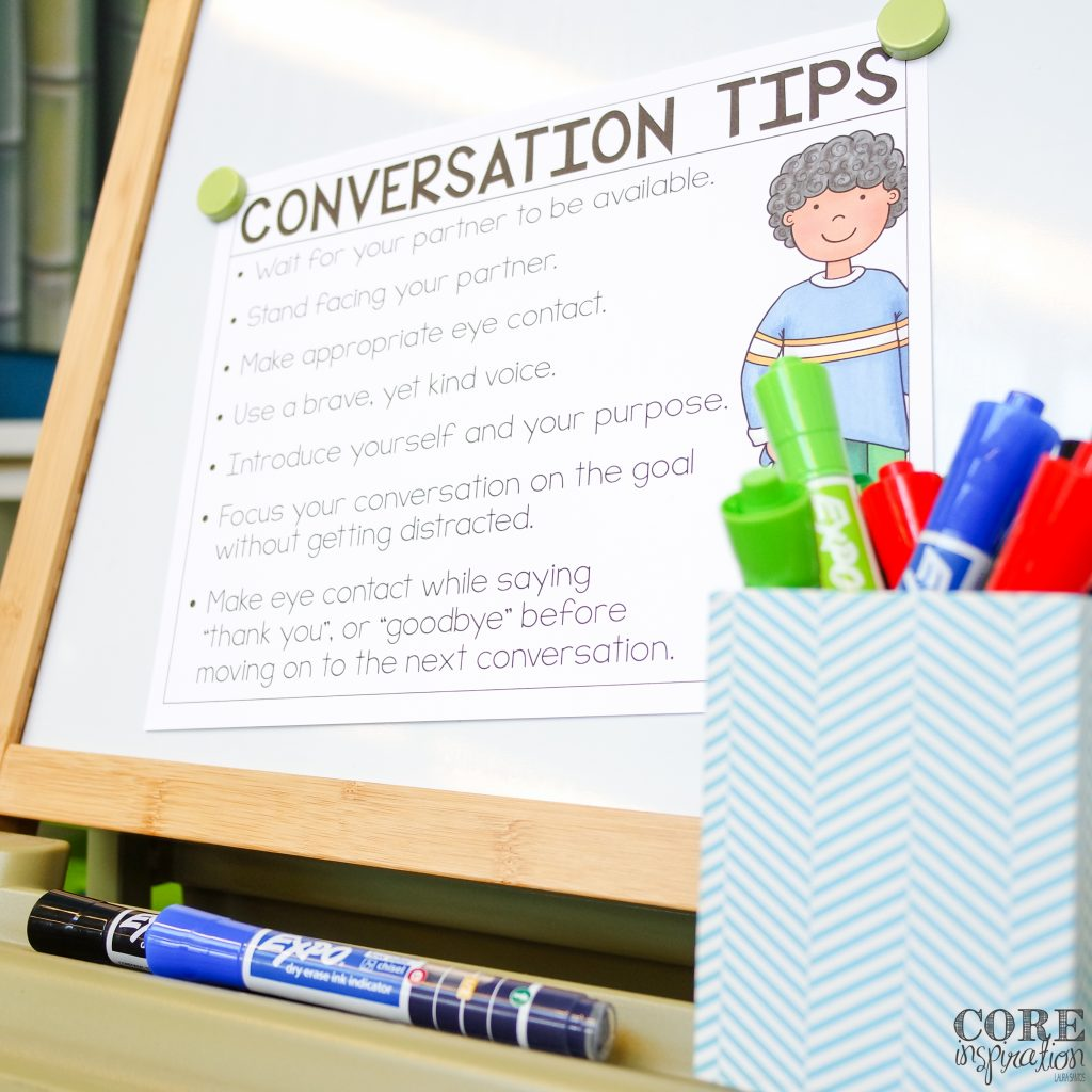 This conversation tips printable will help students develop respectful conversation skills as they collect their data during this interactive back to school activity.