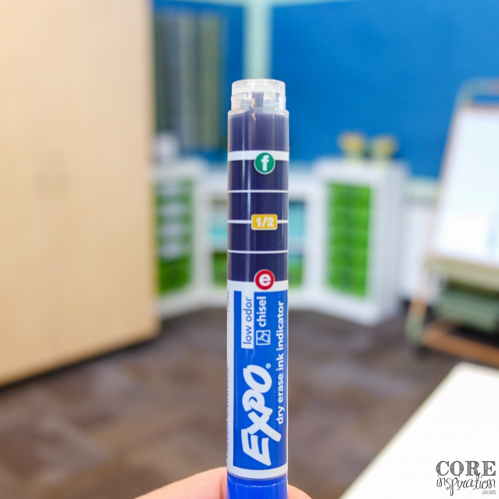 Expo Ink Indicator markers make the dry erase / whiteboard marker challenge easy because students can see exactly how much ink remains in their marker.