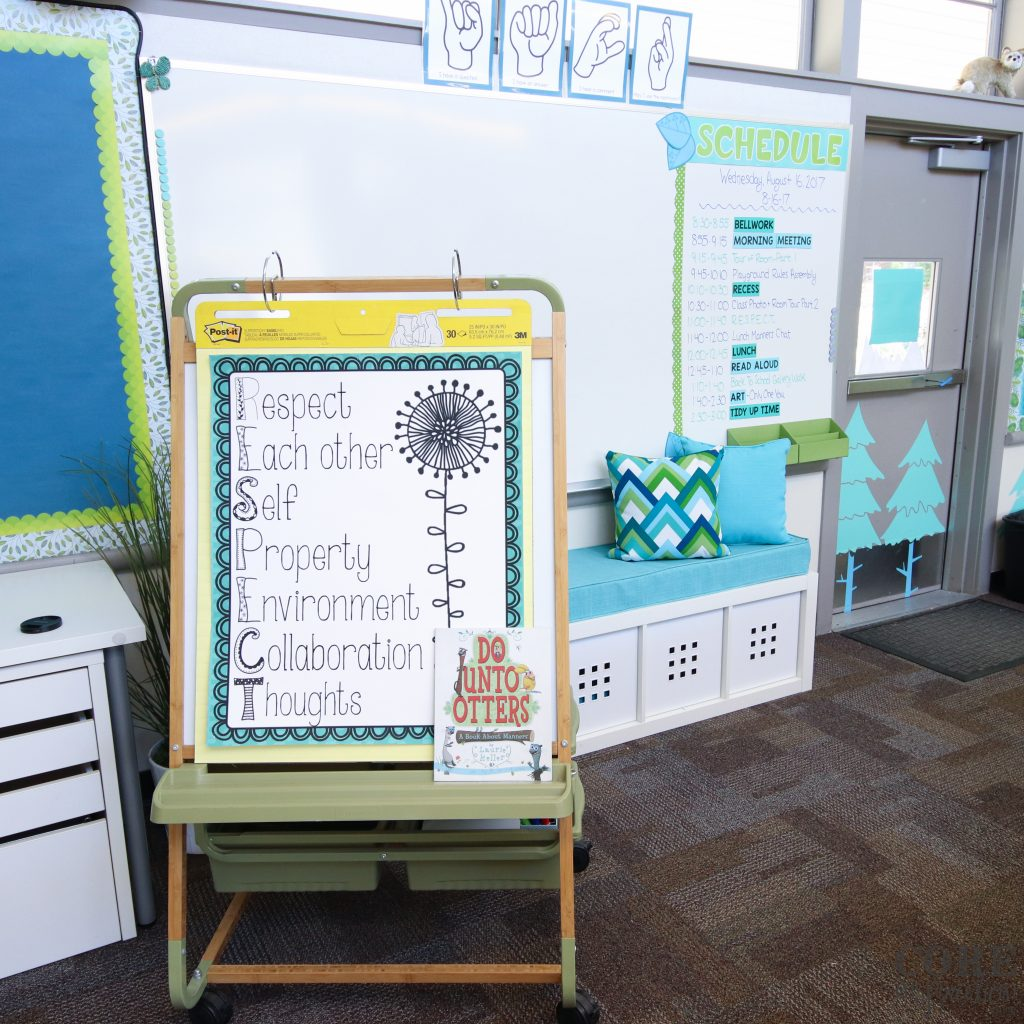 Copernicus bamboo teaching easel with Core Inspiration's Respect classroom management system poster.