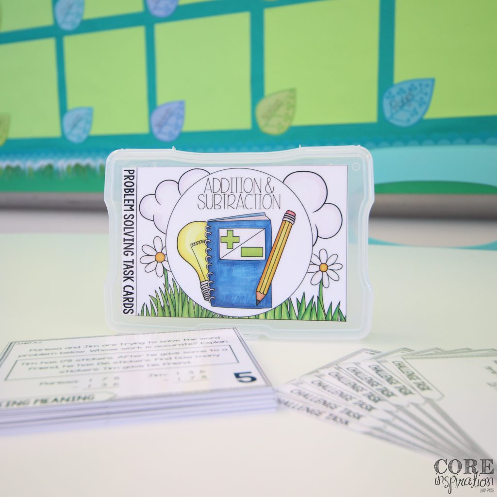 Core Inspiration Problem Solving task Card Storage Ideas
